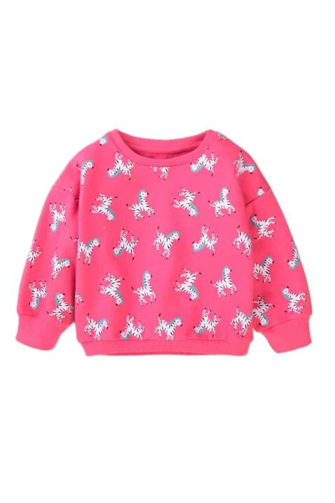 Rosa Baby Kinder Sweatshirt Pullover langarm mit Zebras im All-Over-Look, Rip-Bündchen & Rundhalsausschnitt für Mädchen - Oberteil von Minoti - Vorderansicht