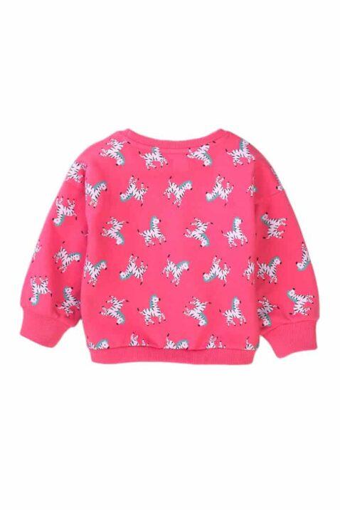 Rosa Kinder Mädchen Pullover Sweatshirt mit Zebras Muster & Rundhals - Tiermotive Sweater Babyoberteil mit Rundhals & Rip-Bündchen von Minoti - Rückenansicht