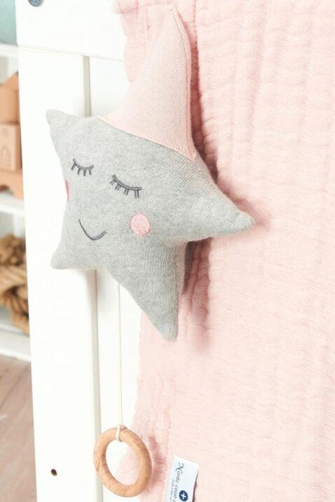 Saugfähige Musselin Multifunktions Babydecke in rosa & Baby Spieluhr als Stern in Rosa-grau aus OEKO Tex Standrad zertifizierter Baumwolle von Nordic Coast Company - Babyuhr & Kinderdecke Set