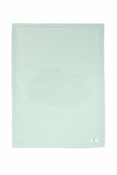 Grüne mint Baumwolldecke Strickdecke mit Wolke aus Baumwolle OEKO Tex Standard 100 als tolle Geeschenkidee von Nordic Coast Company - Komplette Kinderdecke Krabbeldecke