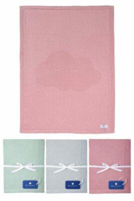 Nordic Coast Company Babydecken aus rosa beeren berry, mintgrün & grauer Baby Kinder Baumwoll Strickdecke mit Wolke aus 100% zertifizierter OEKO Tex Baumwolle – Set Kinderdecken Übersicht