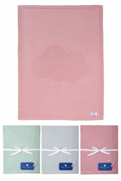 Babydecken aus rosa beeren berry, mintgrün & grauer Baby Kinder Baumwoll Strickdecke mit Wolke aus 100% zertifizierter OEKO Tex Baumwolle von Nordic Coast Company - Set Kinderdecken Übersicht
