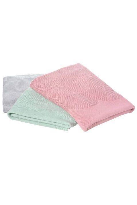 Set aus grauer, mintgrüner & beeren rosa Babydecke Strickdecke mit Wolke aus 100% zertifizierter Baumwolle OEKO Tex von Nordic Coast Company - Set Kinderdecken Inspiration