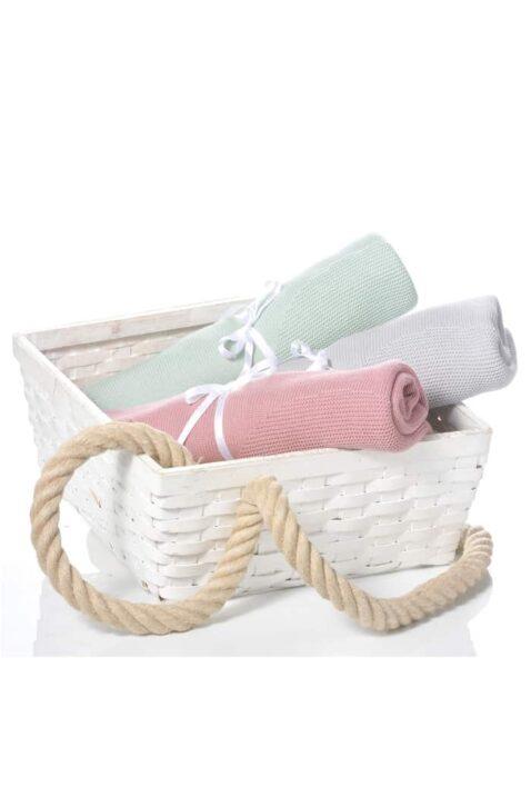 Set aus graue, rosa beere und mintgrüne Baby Kinder Strickdecken mit Wolke aus OEKO Tex Baumwolle - Kuschelige Puckdecken & Kuscheldecken von Nordic Coast Company - Inspiration Kuscheldecken