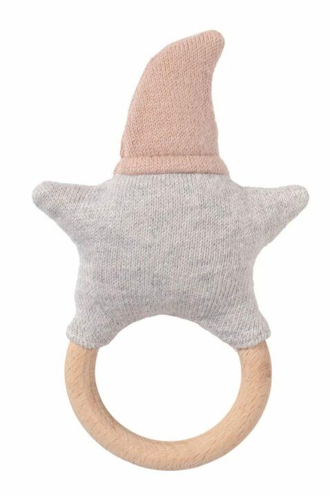 Rosa graue Baby Greifling Rassel mit Beißring aus Holz lachender Stern Strick Gesicht & OEKO TEX Baumwolle Babyspielzeug von Nordic Coast Company - Rückansicht Babyrassel