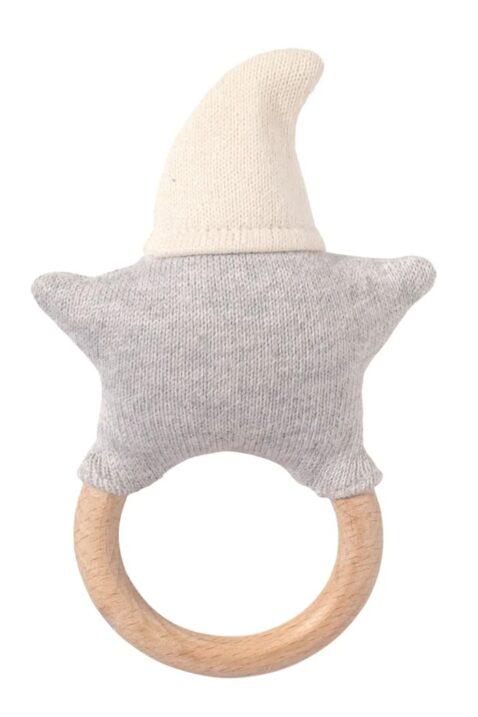 Weiß graue Baby Greifling Rassel mit Beißring aus Holz lachender Stern Strick Gesicht & Baumwolle OEKO TEX Babyspielzeug von Nordic Coast Company - Rückansicht Babyrassel