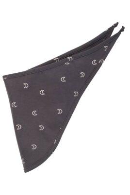 Pinokio graphit graues Baby Halstuch Dreieckstuch abgerundet mit kleinen weißen Monden Halbmonden OEKO TEX für Jungen & Mädchen 57 x 22 cm – Vorderansicht