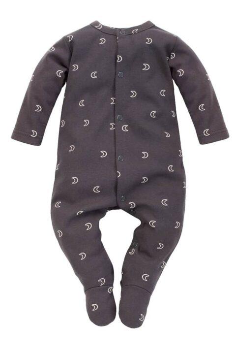Graphit grauer Baby Langarm Schlafoverall mit Füßen, Halbmonden & Patch BE BRAVE - Baumwolle Strampelanzug Babyoverall Jungen & Mädchen - Kinder Einteiler Schlafstrampler von Pinokio - Vorderansicht
