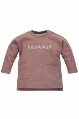 Pinokio beige Baby Kinder Rundhals Pulli Oberteil langarm mit Taschen & DREAMER Print unifarben für Jungen & Mädchen aus Baumwolle – Vorderansicht