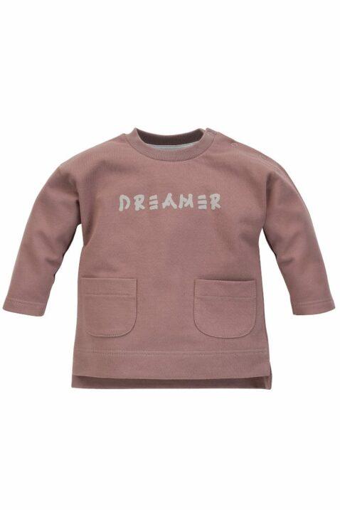 Beige Baby Kinder Rundhals Sweatshirt Pulli Oberteil langarm mit Taschen & DREAMER Print unifarben für Jungen & Mädchen aus Baumwolle von Pinokio - Vorderansicht