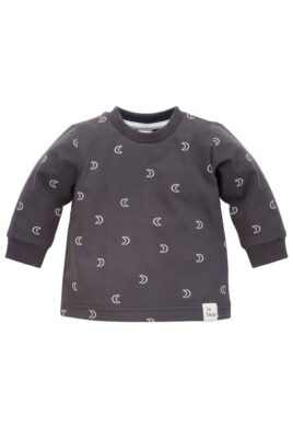 Pinokio graphitgrau Baby Kinder Sweatshirt Pullover Oberteil langarm mit Halbmonden gemustert Rundhalsausschnitt & Patch BE BRAVE für Jungen & Mädchen – Vorderansicht