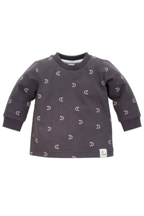 Graphitgrau Baby Kinder Sweatshirt Pullover Oberteil langarm mit Halbmonden gemustert Rundhalsausschnitt & Patch BE BRAVE für Jungen & Mädchen von Pinokio - Vorderansicht