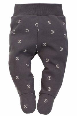 Pinokio graue Baby Strampelhose mit Fuß & Halbmonden gemustert & breiter Komfortbund für Jungen & Mädchen – Graphitgraue dunkelgraue lange Schlafhose Halb-Strampler – Vorderansicht