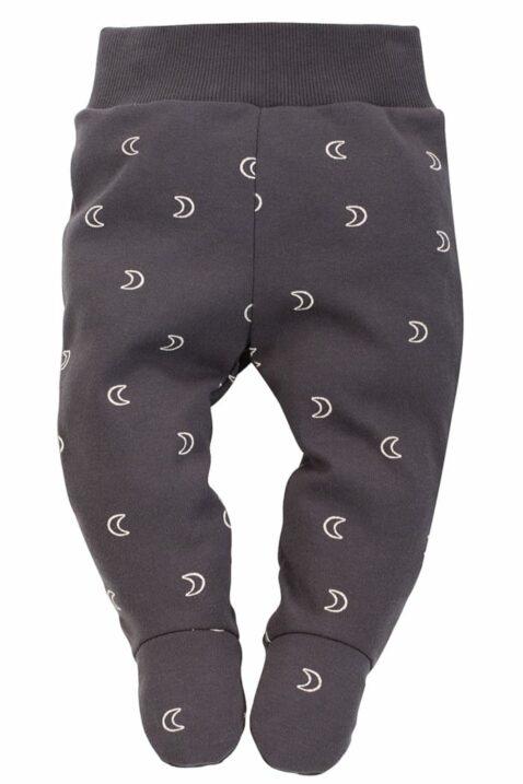 Graue Baby Strampelhose mit Fuß & Halbmonden gemustert & breiter Komfortbund für Jungen & Mädchen - Graphitgraue dunkelgraue lange Schlafhose Halb-Strampler von Pinokio - Vorderansicht