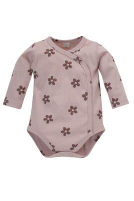 Pinokio Baby rosa Wickelbody langarm mit Blumenmuster Retro Look aus Baumwolle für Mädchen – Dunkelrosa pink Blumen Langarmbody Body mit langen Ärmeln – Vorderansicht