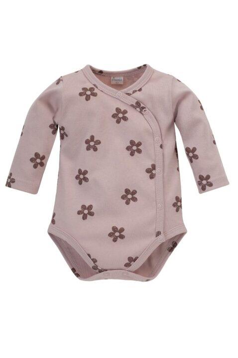 Baby rosa Wickelbody langarm mit Blumenmuster Retro Look aus Baumwolle für Mädchen - Dunkelrosa pink Blumen Langarmbody Body mit langen Ärmeln von Pinokio - Vorderansicht