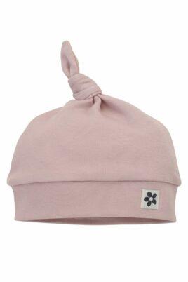 Pinokio rosa Zipfelmütze Babymütze mit Zipfel Knoten, Blumen Patch im Retro-Look aus Baumwolle – Altrosa Hochwertige Mädchen Kindermütze Baumwollmütze – Vorderansicht