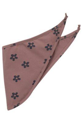 Pinokio dunkelrosa Baby Halstuch Dreieckstuch abgerundet mit kleinen Blumen im Retro Look OEKO TEX für Mädchen 57 x 22 cm – Vorderansicht