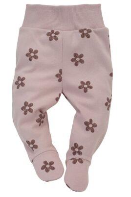 Pinokio rosa Baby Strampelhose mit Fuß & Retro Blumen gemustert & breiter Komfortbund für Mädchen – Hellrosa lange Kinder Schlafhose Halb-Strampler mit Füßen – Vorderansicht
