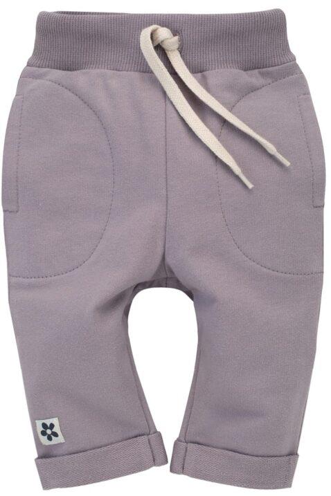 Graue Kinder Baby Sweathose Schlupfhose mit großen Taschen, Kordel, Komfortbund & Beinumschlag für Mädchen aus 100% Baumwolle - Steingraue Kinderhose von Pinokio - Vorderansicht