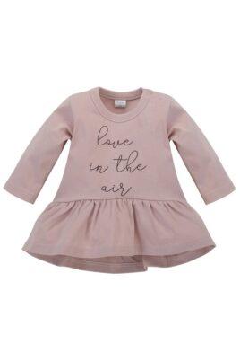 Pinokio rosa Baby Kinder Tunika Langarmshirt in Kleidchenoptik mit Print LOVE IN THE AIR für Mädchen mit Rundhalsaussschnitt – Kinderoberteil langarm Kleidchen – Vorderansicht