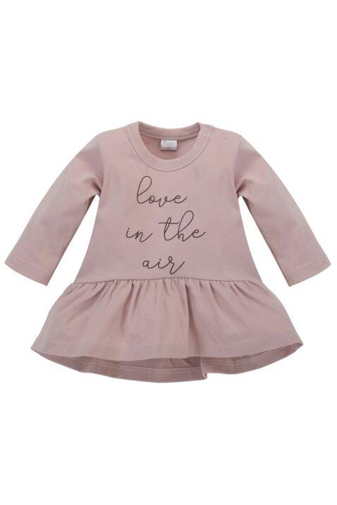 Rosa Baby Kinder Tunika Langarmshirt in Kleidchenoptik mit Print LOVE IN THE AIR für Mädchen mit Rundhalsaussschnitt - Kinderoberteil langarm Kleidchen von Pinokio - Vorderansicht