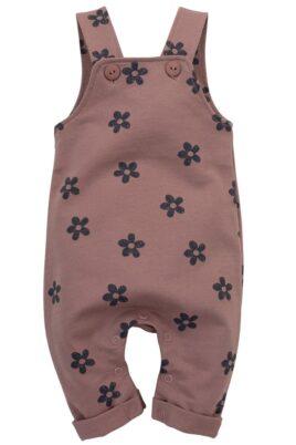 Pinokio dunkelrosa rotbraune Baby Latzhose lang mit Retro Blumen gemustert & Beinumschlag für Mädchen aus 100% Baumwolle – Kinder Flower Trägerhose Einteiler – Vorderansicht
