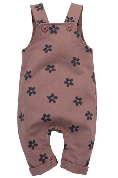 Dunkelrosa rotbraune Baby Latzhose lang mit Retro Blumen gemustert & Beinumschlag für Mädchen aus 100% Baumwolle - Kinder Flower Trägerhose Einteiler von Pinokio - Vorderansicht