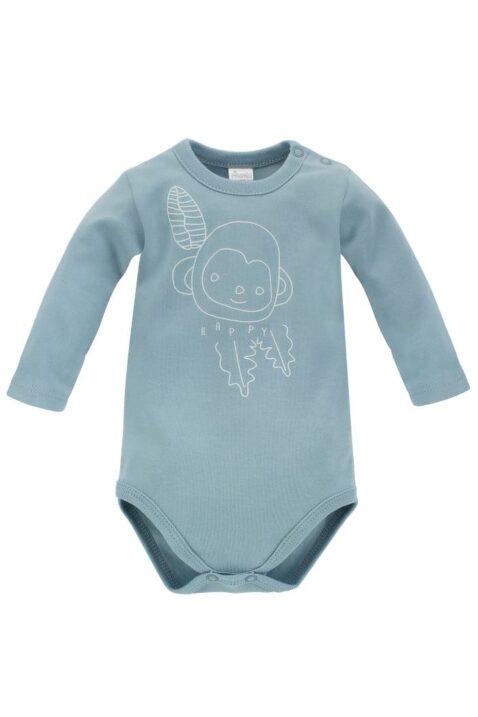 Blauer Baby Body Langarm mit Affe & HAPPY Print für Jungen & Mädchen aus OEKO TEX Baumwolle Baumwollbody - Langarmbody Tierbody Blaugrün OEKO TEX Baumwolle von Pinokio - Vorderansicht
