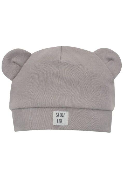 Beige Babymütze mit Ohren im Bären Panther Design & Patch SLOW LIFE aus 100% Baumwolle OEKO TEX - Jungen & Mädchen Kindermütze Baumwollmütze unifarben - Vorderansicht