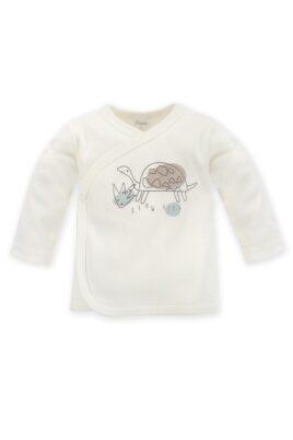 Pinokio weißes Baby Wickelshirt langarm mit Schildkröte Tiermotiv & Print SLOW LIFE für Jungen & Mädchen aus OEKO TEX Baumwolle – Kinder Wickeljacke Wickelhemd Flügelhemd Oberteil – Vorderansicht
