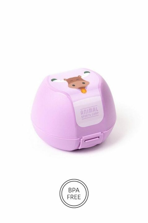 Lila Apfeldose mit Elch Tier Motiv für Mädchen - Clipverschluss, BPA frei & spülmaschinengeeignet als Geschenbox 3er Set von AMUSE - Vorderansicht Apfelbox Obstbox
