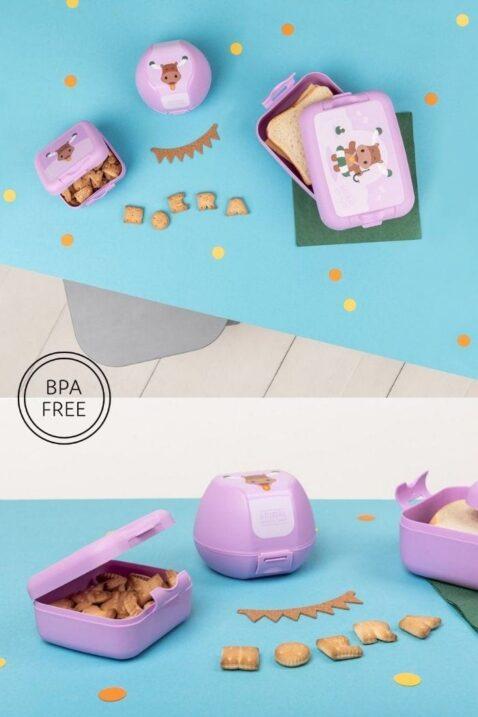 Lila Kinder Geschenkbox Lunch Set 3 Teile mit Elch Tiermotiv - Brotdose, Sandwich-Dose, Apfelbox, Snackbox für Mädchen von AMUSE - Inspiration Lookbook