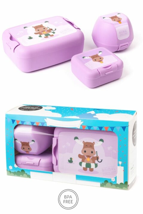 Lila Flieder Kinder Lunchbox Set 3 teilig Elch Brotbox, Brotdose, Apfelbox, Obstbox, Snackbox als Geschenkbox - BPA frei mit Clipverschlüsse für Mädchen von AMUSE - Vorderansicht Set