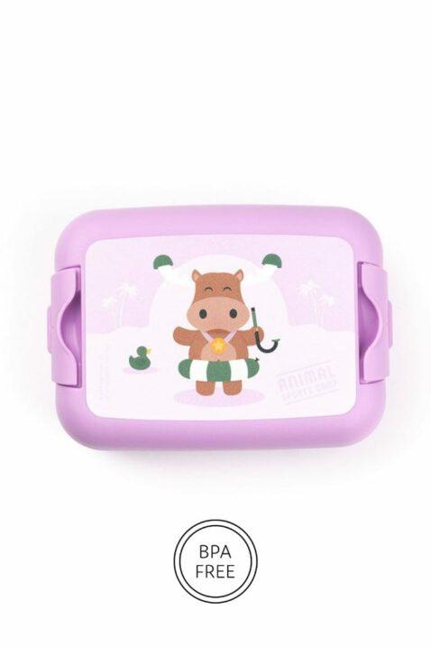 Lila Mädchen Lunchbox Brotdose mit Elch Tiermotiv Geschenkbox 3 teilig für Sandwiches - Sandwich Box Schule, Kindergarten, Schwimmbad & Urlaub von AMUSE - Vorderansicht Brotbox Sandwich Dose