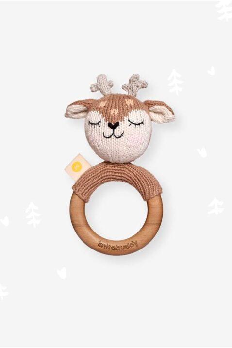 Brauner Baby Holz Beißring Greifling mit Rassel Reh Rehkitz Strick aus OEKO TEX Bio Baumwolle Babyspielzeug für Neugeborene & Babys von Knit A Buddy - Vorderansicht Rassel