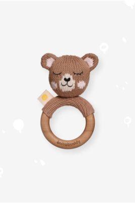 Knit A Buddy brauner Baby Holz Tier Beißring Greifling mit Rassel Bär Strick aus OEKO TEX Bio Baumwolle Organic Cotton Babyspielzeug für Neugeborene & Babys – Vorderansicht Rassel