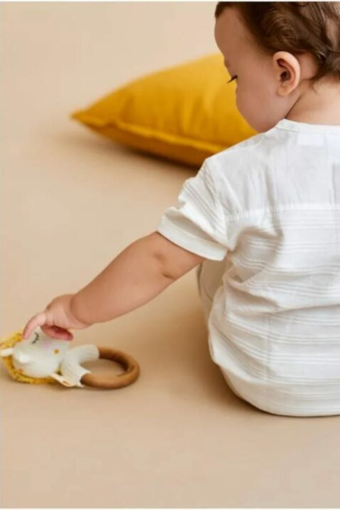 Junge Baby spielt mit Rassel Beißring aus Holz & Stofftier Kuscheltier weiß Giraffe - Handmade Greifling Organic Cotton OEKO TEX Spielzeug Pima Bio Baumwolle Kinder von Knit A Buddy - Babyfoto Kinderfoto