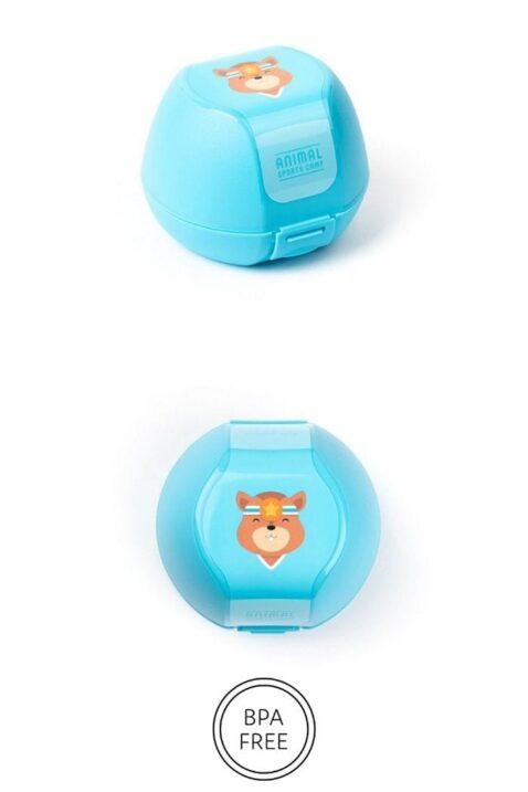 Blaue Kinder Baby Apfeldose mit Eichhörnchen Animal Tier Motiv für Jungen & Mädchen - Clipverschluss, BPA frei & spülmaschinengeeignet als Geschenbox 3er Set von AMUSE - Vorderansicht Apfelbox Obstbox