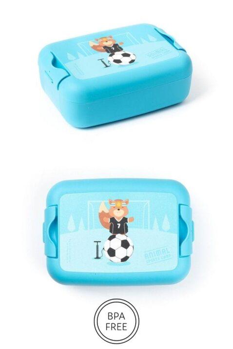Blaue Jungen Animal Fußball Kinder Baby Lunchbox Brotdose mit Eichhörnchen Tiermotiv Geschenkbox 3 teilig - Sandwich Box Obstdose Schule, Kindergarten, Schwimmbad, Urlaub von AMUSE- Vorderansicht Brotbox