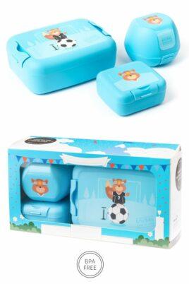 AMUSE blaue Kinder Baby Lunchbox Set 3 teilig Eichhörnchen Brotbox, Brotdose, Apfelbox, Obstbox, Snackbox Geschenkbox – Hellblau BPA frei Clipverschlüsse für Mädchen – Vorderansicht Set