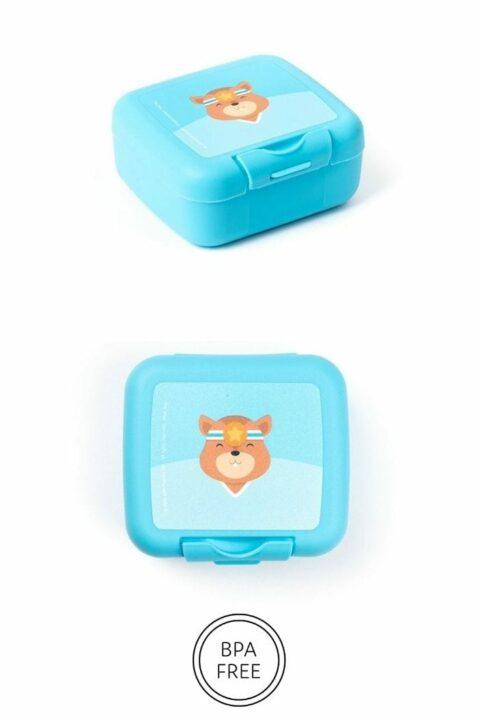 Kinder Baby Snackbox Snackdose blau mit Eichhörnchen Tier Geschenkbox Lunch Set 3er Set mit hochwertigem Clipverschluss, BPA frei & spülmaschinenfest von AMUSE- Vorderansicht Snackdose Kecksdose