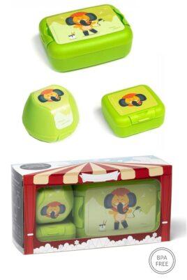 AMUSE grüne Kinder Baby Lunchbox Set 3 teilig Löwe Tier Animal Brotbox, Brotdose, Apfelbox, Obstbox, Snackbox Geschenkbox – Hellgrüne BPA frei Clipverschlüsse für Mädchen & Jungen – Vorderansicht Set