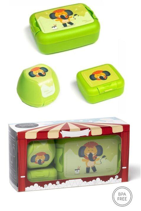 Grüne Kinder Baby Lunchbox Set 3 teilig Löwe Tier Animal Brotbox, Brotdose, Apfelbox, Obstbox, Snackbox Geschenkbox - Hellgrüne BPA frei Clipverschlüsse für Mädchen & Jungen von AMUSE - Vorderansicht Set