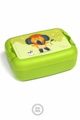 Grüne Animal Kinder Baby Lunchbox Brotdose mit Löwe Tier Geschenkbox Giftbox 3er Set - Jungen & Mädchen Mittags Pausenbox Sandwich Box Obstdose Schule, Kindergarten, Urlaub von AMUSE- Vorderansicht Brotbox