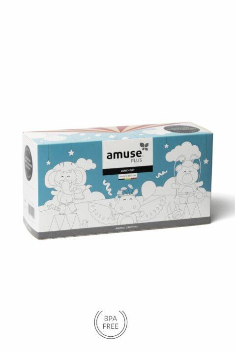 Grüne Kinder Geschenkbox Lunch Set 3 Teile mit Löwe Animal Tiermotiv - Hellgrüne Baby Brotdose, Sandwich-Dose, Apfelbox, Snackbox Pausendose für Mädchen & Jungen von AMUSE - Vorderansicht Set Verpackung Lunchbox