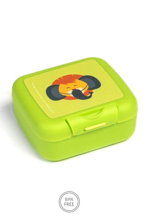 Kinder Baby Snackbox Snackdose grün mit Löwe Tier Animal Geschenkbox Lunch Set 3er Set Klickverschluss, BPA frei & spülmaschinenfest von AMUSE - Vorderansicht Snackdose Kecksdose
