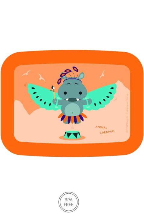 Orange Animal Kinder Baby Lunchbox Brotdose mit Nielpferd Tier Geschenkbox Giftbox 3er Set - Mittags Pausenbox, Sandwich Box, Obstdose für Schule, Kindergarten, Urlaub von AMUSE - Vorderansicht Brotbox