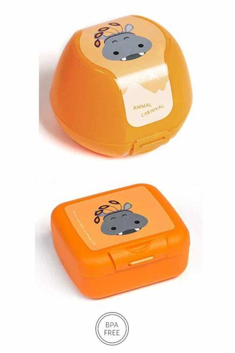 Orange Kinder Baby Apfeldose Snackbox mit Nielpferd Animal Tier Frühstücksbox - Klickverschluss, BPA frei & spülmaschinenfest Geschenbox 3er Set von AMUSE - Vorderansicht Apfelbox Obstbox Keksdose