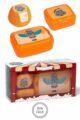 Orange Kinder Baby Lunchbox Set 3 teilig Nielpferd Tier Animal Brotbox, Brotdose, Obstbox, Apfelbox, Snackbox Geschenkbox - Snackbnox BPA frei Clipverschlüsse für Mädchen & Jungen von AMUSE - Vorderansicht Set
